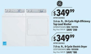 black friday washer/dryer ad